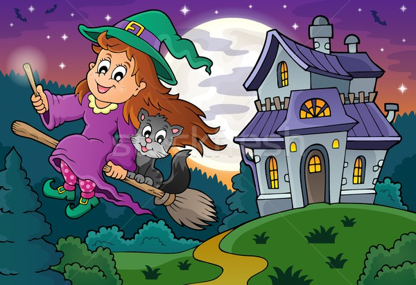 Cute witch on broom near haunted house Stock photo © clairev