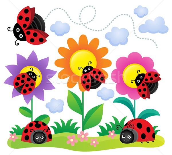 стилизованный изображение цветы весны счастливым Сток-фото © clairev