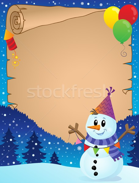 Foto stock: Pergamino · fiesta · muñeco · de · nieve · papel · invierno · sombrero