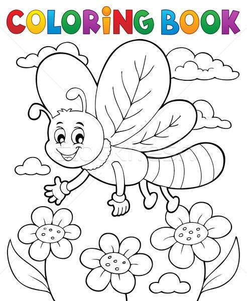 Livro para colorir libélula flor livro natureza arte Foto stock © clairev