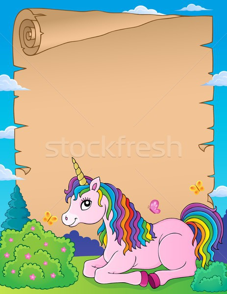 Parchment with lying unicorn theme 1 Stock photo © clairev