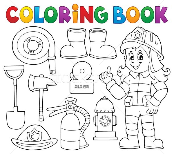 Stock photo: Coloring book firefighter theme set 1