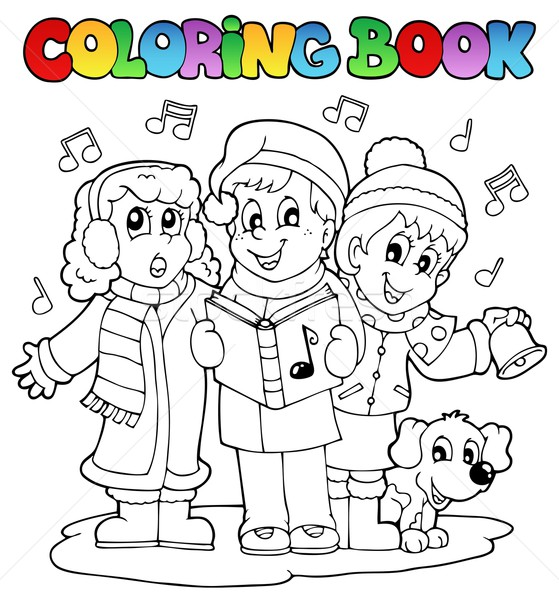 Coloring book carol singing theme 1 Stock photo © clairev