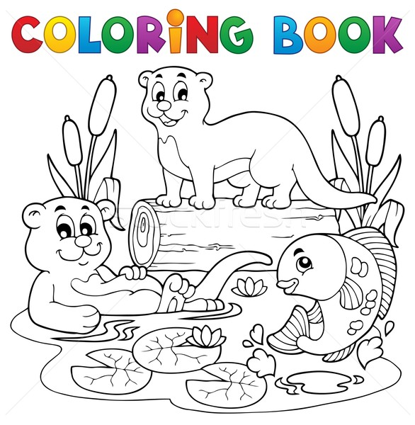 Coloring book river fauna image 3 Stock photo © clairev