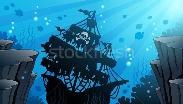 Gemi enkazı görüntü okyanus kaya kafatası gemi Stok fotoğraf © clairev