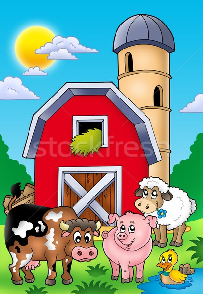 Stock photo: Big red barn with farm animals