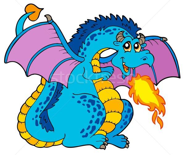 Duży niebieski ognia smoka sztuki zwierząt Zdjęcia stock © clairev