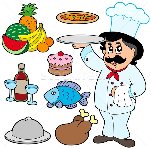 Cartoon chef with various meals Stock photo © clairev