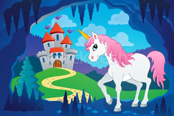 Cute unicorn in fairy tale cave Stock photo © clairev