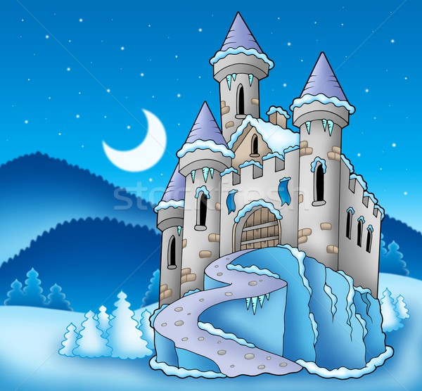 Frozen castle in winter landscape Stock photo © clairev