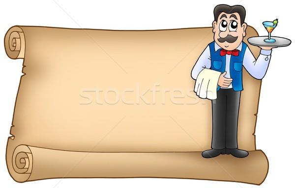 Scroll De ober kleur illustratie partij ogen Stockfoto © clairev