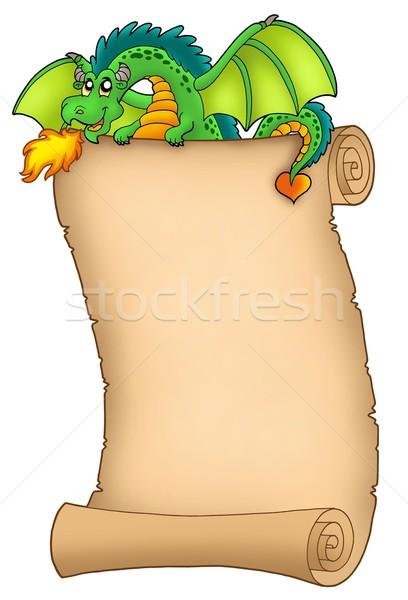 ストックフォト: 巨人 · 緑 · 龍 · スクロール · 色