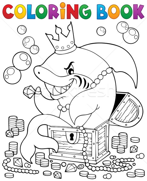 Coloring book with shark and treasure Stock photo © clairev