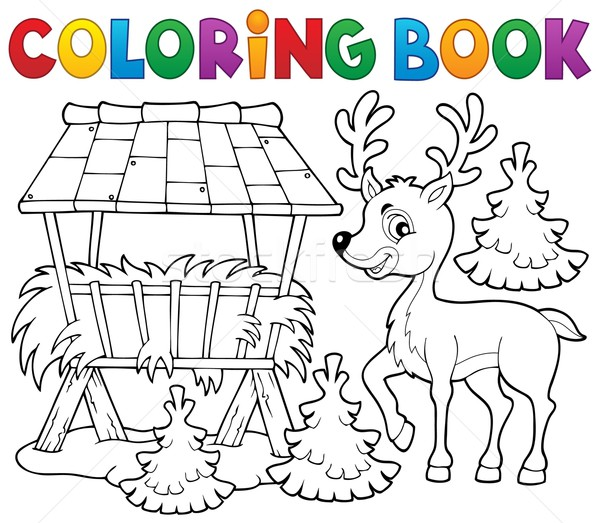 Coloring book deer theme 2 Stock photo © clairev
