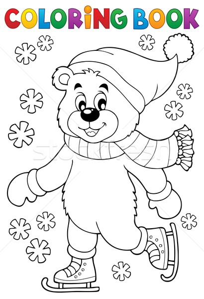 Coloring book ice skating bear Stock photo © clairev
