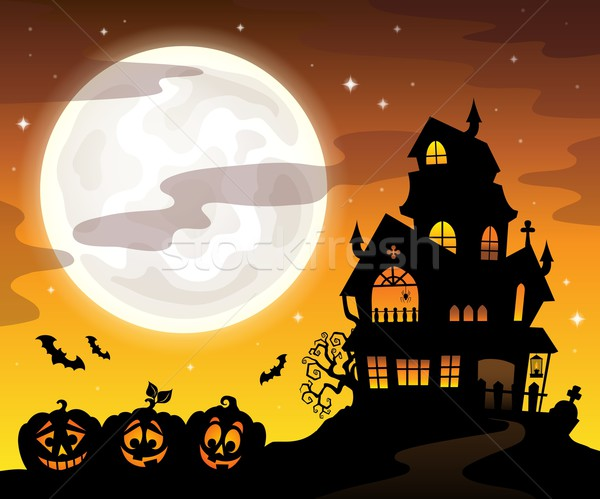 Stock photo: Haunted house silhouette theme image 5