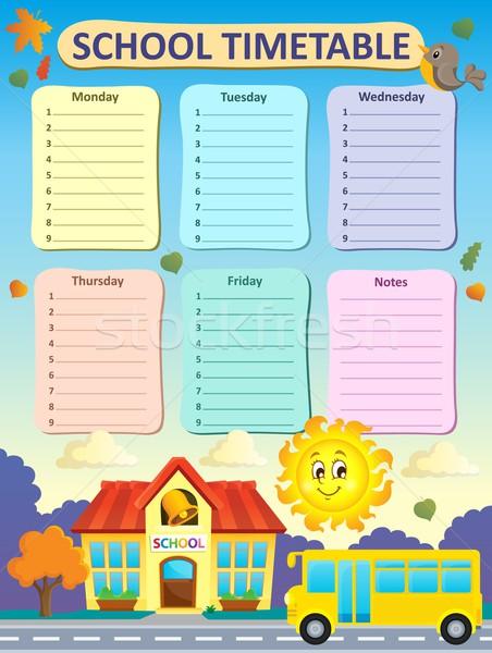 Hebdomadaire école calendrier maison route soleil Photo stock © clairev