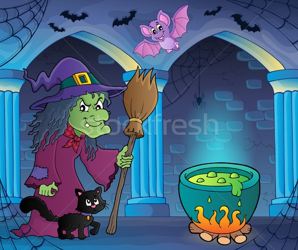 Witch with cat and broom theme image 7 Stock photo © clairev