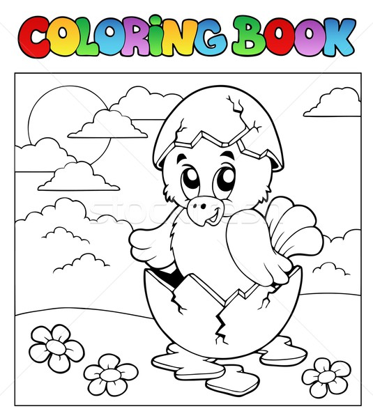 Coloring book with Easter theme 3 Stock photo © clairev