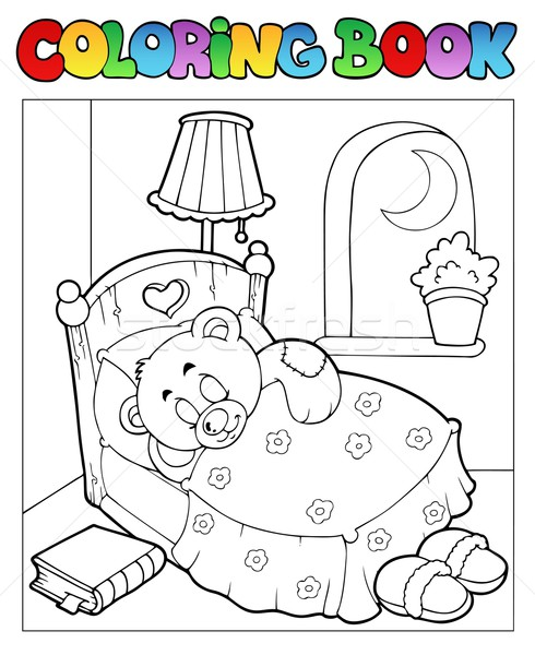 Coloring book with teddy bear 1 Stock photo © clairev