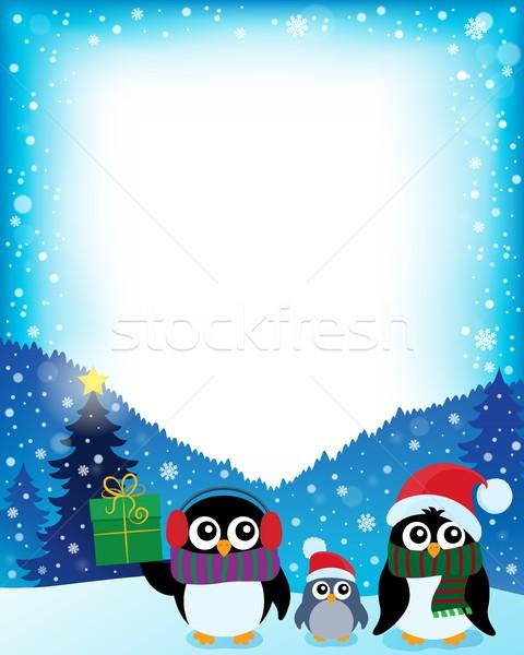 Cadre stylisé Noël art oiseau oiseaux Photo stock © clairev