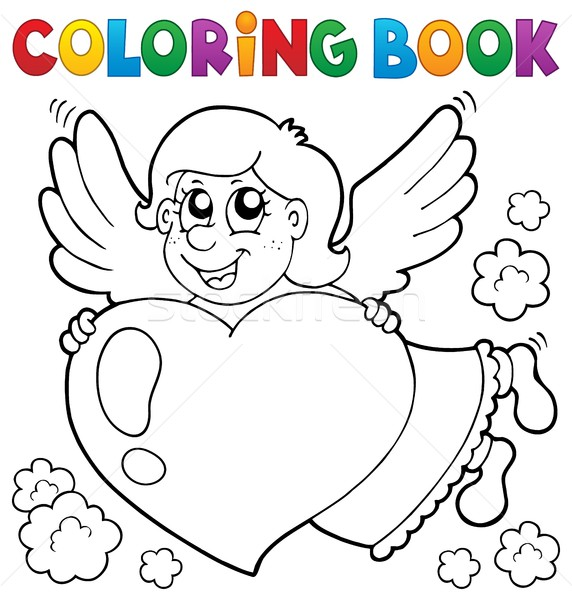 Coloring book Cupid topic 3 Stock photo © clairev
