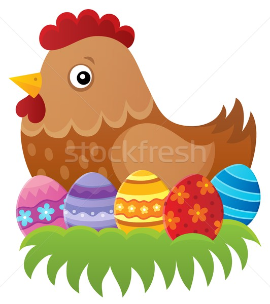 Pascua gallina imagen hierba diseno huevos Foto stock © clairev