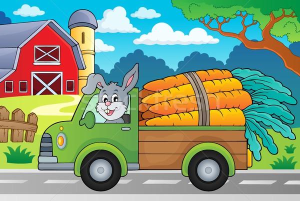 Stockfoto: Vrachtwagen · wortelen · afbeelding · gebouw · konijn · kunst