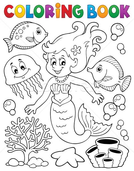 Livro para colorir sereia tópico menina sorrir livro Foto stock © clairev