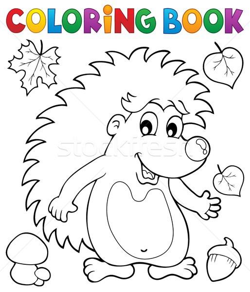 книжка-раскраска еж счастливым лист краской искусства Сток-фото © clairev