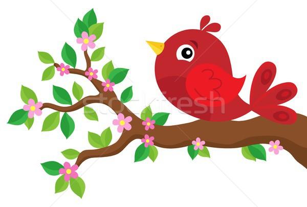 Stylizowany ptaków wiosną oddziału liści kwiat Zdjęcia stock © clairev