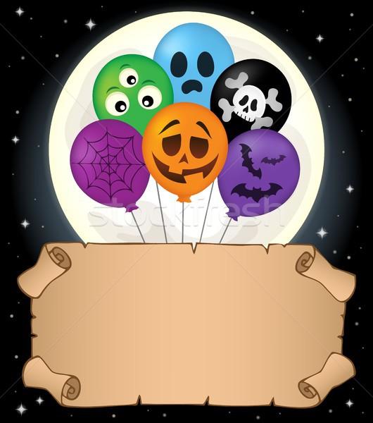 Foto stock: Pequeno · pergaminho · halloween · balões · céu · papel