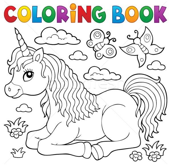 Coloring Book Lying Unicorn Theme 1 Vector Illustration Klara