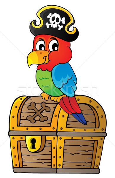 Pirate parrot on treasure chest topic 1 Stock photo © clairev