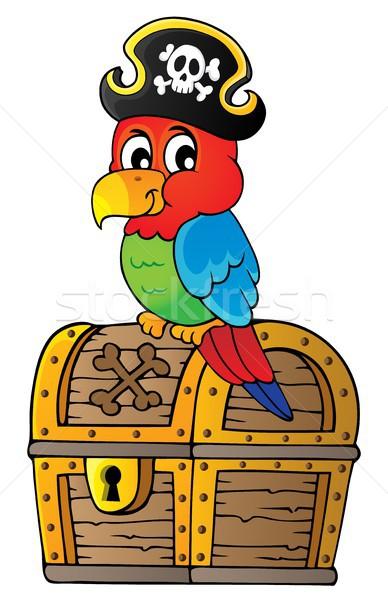 Piraat papegaai schatkist onderwerp metaal kunst Stockfoto © clairev