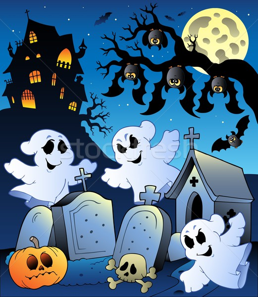Halloween scenery with cemetery 6 Stock photo © clairev