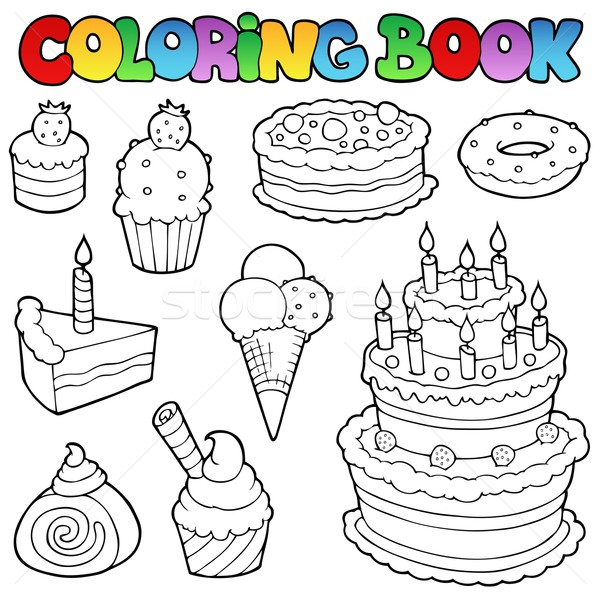Coloring book various cakes 1 Stock photo © clairev