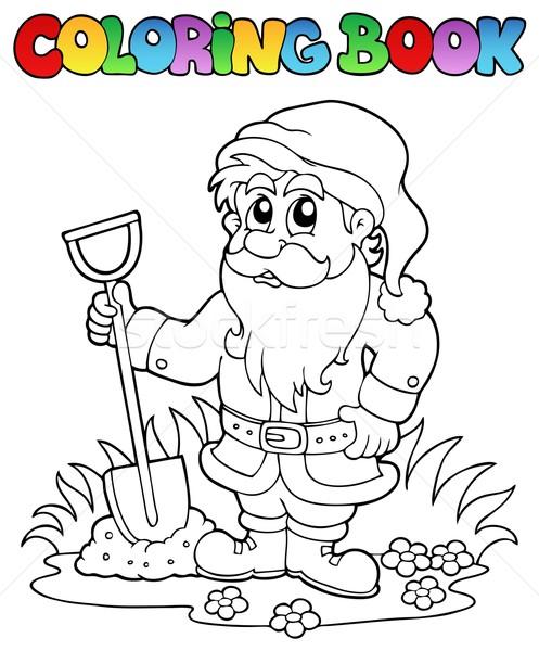 Livro para colorir desenho animado jardim anão livro trabalhar Foto stock © clairev