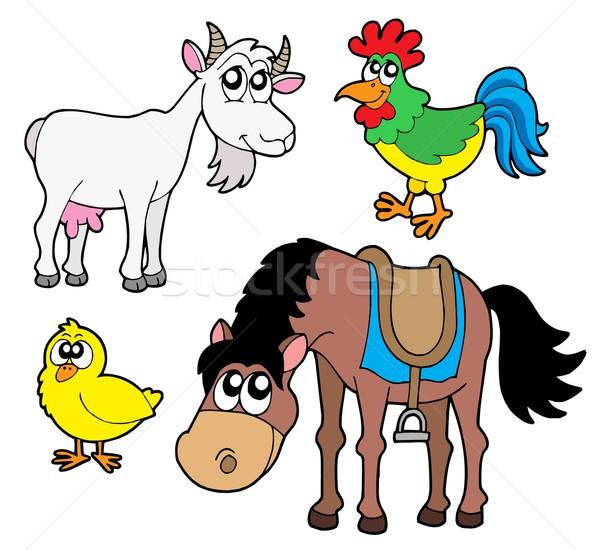 Boerderijdieren collectie paard kip boerderij veer Stockfoto © clairev