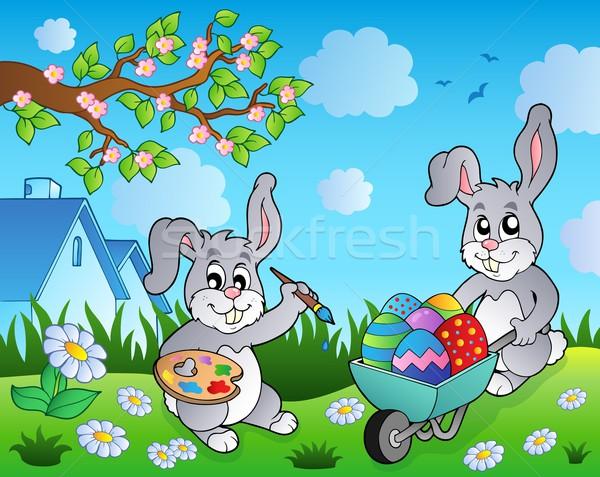 Easter bunny temat obraz Wielkanoc wiosną królik Zdjęcia stock © clairev
