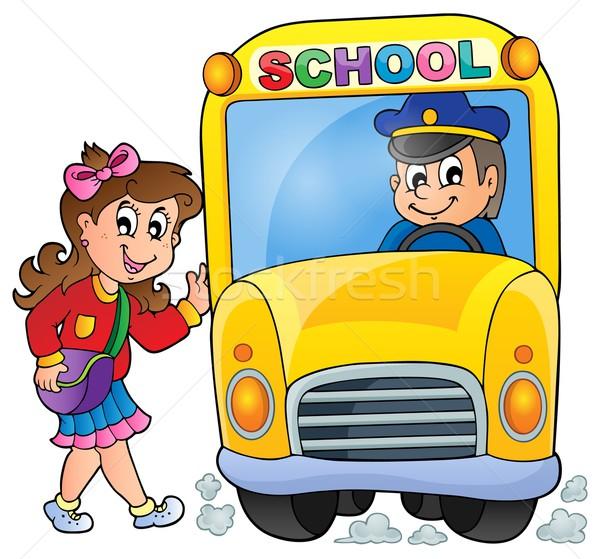 Image bus scolaire homme étudiant art Voyage Photo stock © clairev