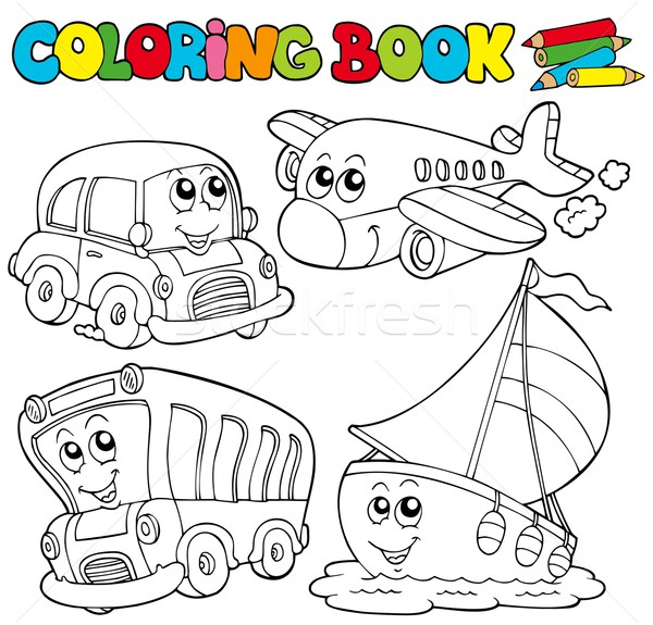 Coloring book with various vehicles Stock photo © clairev