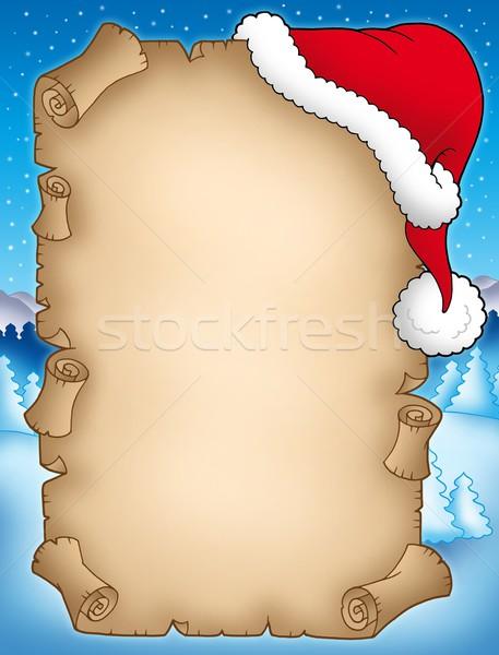 Winter parchment with Santas hat Stock photo © clairev