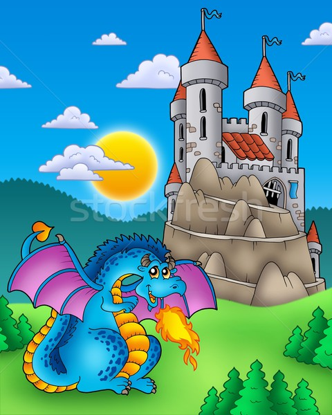 Stock photo: Blue dragon with castle on hill