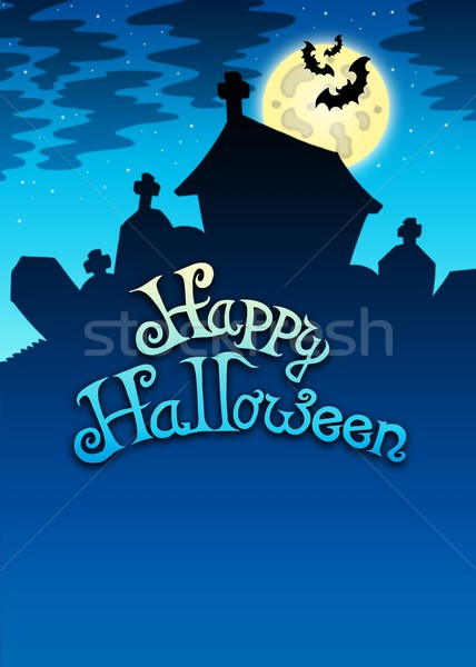 Happy Halloween sign with cemetery Stock photo © clairev