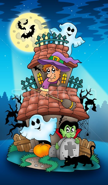 House with Halloween characters Stock photo © clairev