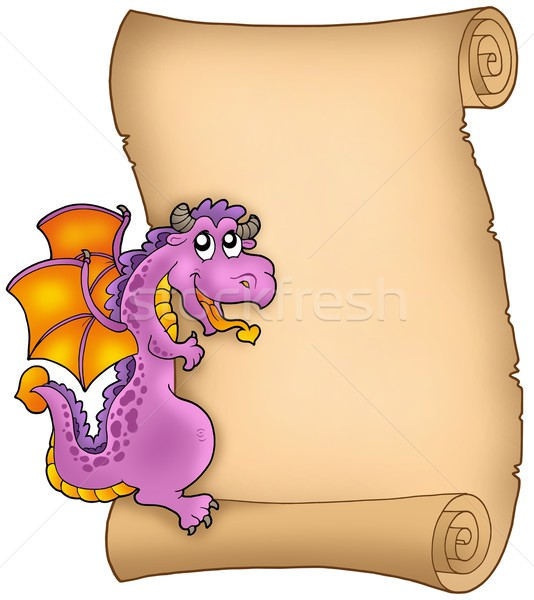 Old parchment with lurking dragon Stock photo © clairev