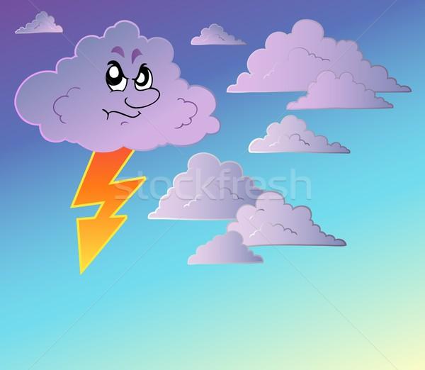 Orageux ciel cartoon nuages dessin danger Photo stock © clairev