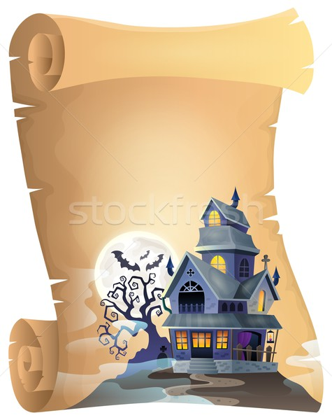 Pergamin nawiedzony domu drzewo księżyc sztuki Zdjęcia stock © clairev