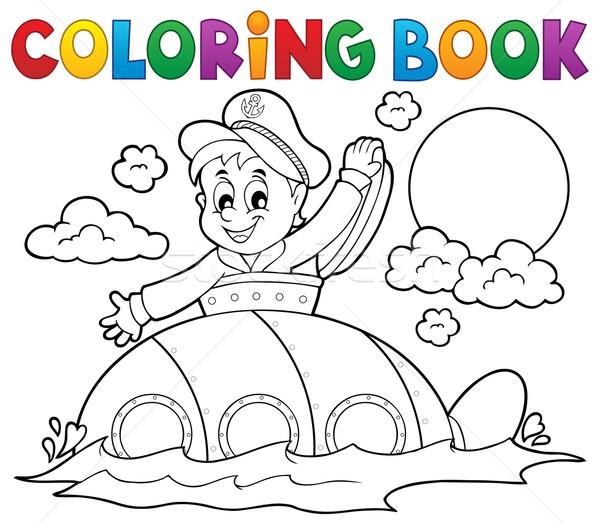 Kleurboek onderzeeër matroos water glimlach boek Stockfoto © clairev